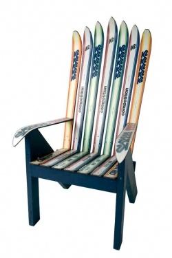 Chair made from ski equipment #luxurylinksnowboard