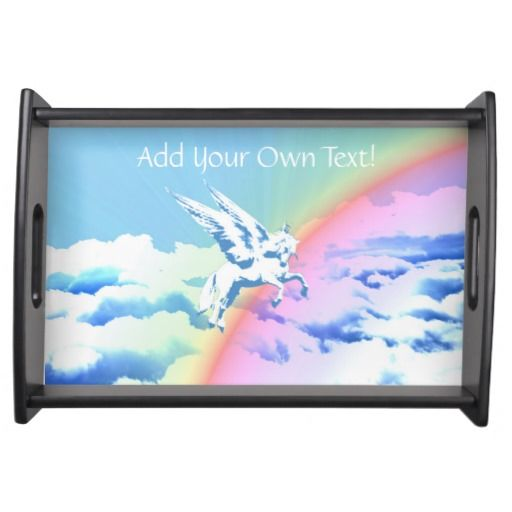 http://www.zazzle.com/pegasus_flying_over_clouds_and_rainbow-256496740881987682?rf=238523064604734277 Pegasus Flying Over Clouds And Rainbow - This serving tray features a Pegasus flying over a rainbow over clouds.