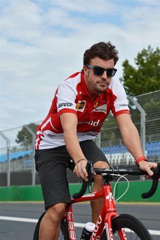 Fernando Alonso (ESP) Ferrari cycles the track.  Formula One World Championship, Rd1, Australian Grand Prix, Preparations, Albert Park, Melbourne, Australia, Wednesday, 13 March 2013