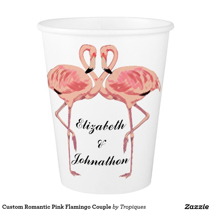 Romantic pink flamingo lovebirds couple seamless repeating pattern disposable paper drink cups with custom names. Great for casual summer lawn weddings, engagement parties and anniversaries.