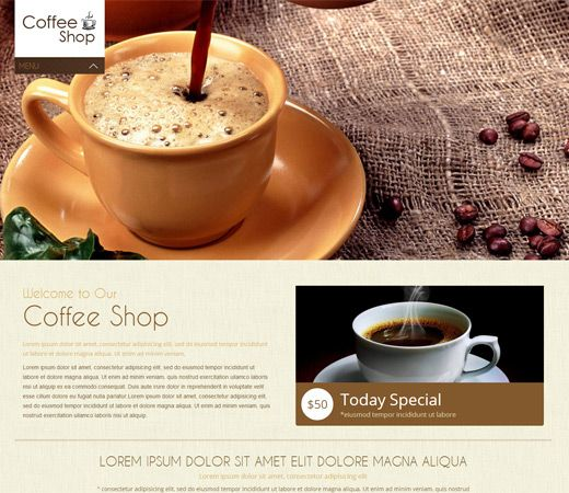 Coffee Shop Mobile Website Template by w3layouts