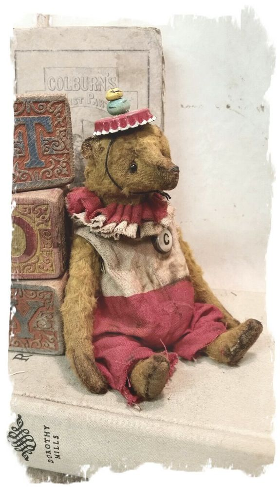 """Image of SAILOR BEAR - Antique Style - PETITE 7"""" Old Clown Bear Pouty Face * By Whendi's Bears"""