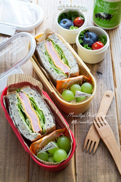 "Ham and lettuce sandwich lunch. | Oh Ru mom official blog ""every day is lunch weather ♪"" Powered by Ameba"