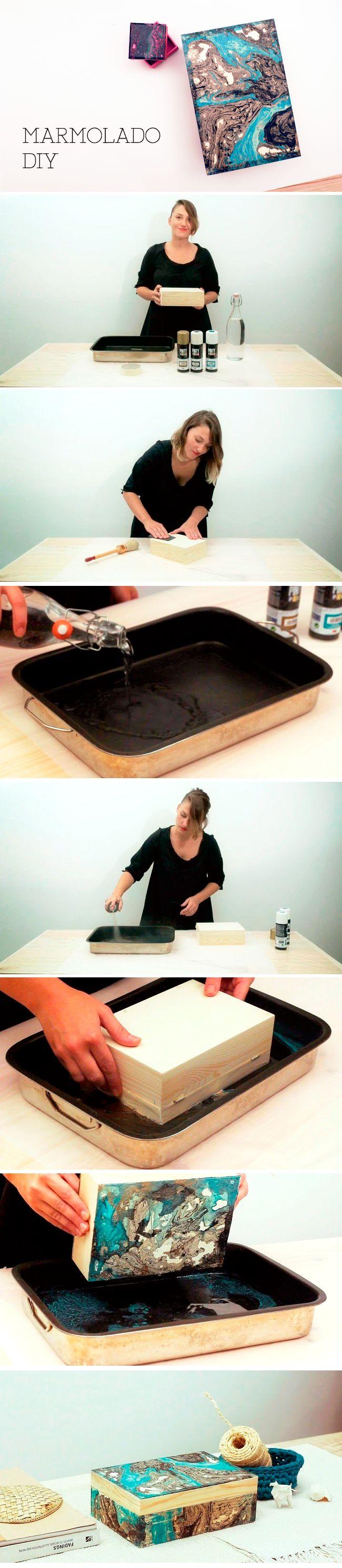 excelente forma de hacer un estilo marmolado para decorar tus cajas y darle un toque mas lindo :)