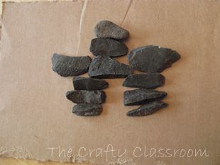Inuksuk Craft, Inuit Tribes - cardboard, rocks, glue