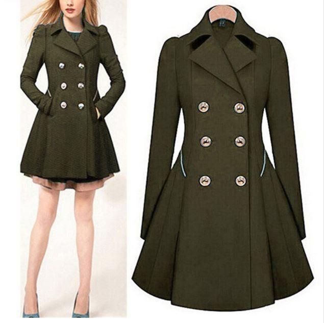 Moderní dámský podzimní kabátek s knoflíky - Velikost L