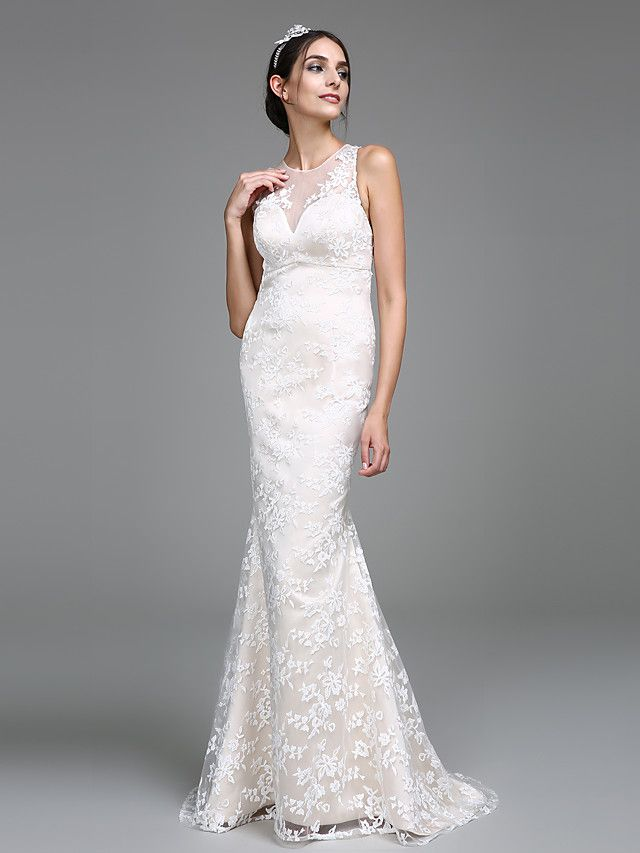 Comes in 4 colors. $140. 2017 Lanting Bride® Trumpet / Mermaid Wedding Dress Sweep / Brush Train Jewel Lace with Lace - USD $139.99