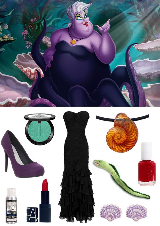 Killer DIY Costume Idea: Ursula the Sea Witch... Use long black dress and make tentacles at the bottom with wire sewn to them. Wear purple long sleeve shirt.