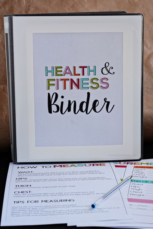 Fitness & Health Binder- over 20 printables to help you get your health on track!