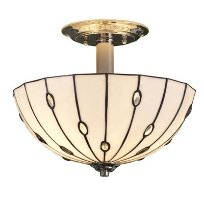 Photo On allen roth W Cloudburst Polished Nickel Textured Tiffany Style Semi Flush Mount Light Lighting and Ceiling Fans