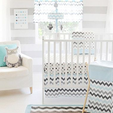 Vintage My Baby Sam Chevron Baby Crib Bedding Collection in Aqua Grey buybuyBaby