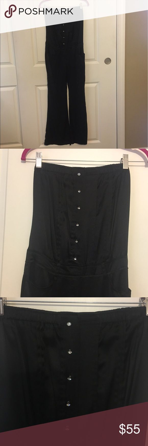 Young Fabulous and Broke jumpsuit Black strapless silk Young Fabulous and Broke jumpsuit. Open tie back. Only worn once, perfect condition. Young Fabulous & Broke Pants Jumpsuits & Rompers