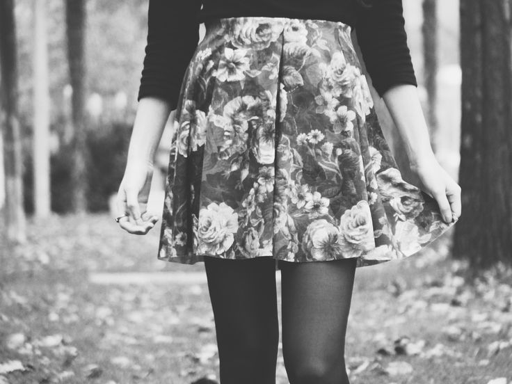 vintage floral print, my legs on a winter day