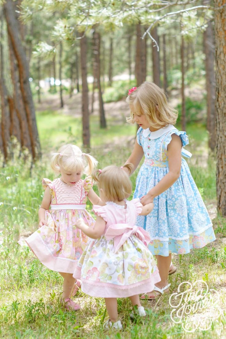 Easter dresses sewn for my granddaughters. Fabric is in my shop at isaacanadanniesewing.com Photography by Tina Joiner.