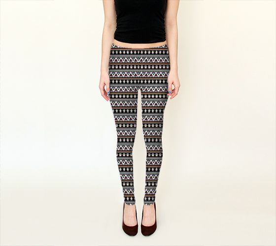 Halloween Aztec Black Leggings - Available Here: http://artofwhere.com/shop/product/54628