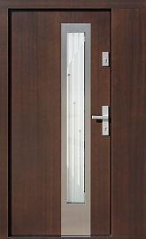 Drzwi zewnętrzne z doświetlem dostawką boczną model  454,3b+ds6 w kolorze orzech