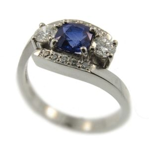 18ct White Gold Sapphire & Diamond Ring. Handmade at Cameron Jewellery.