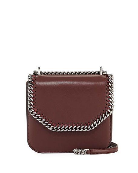 STELLA MCCARTNEY Falabella Eco Alter Medium Box Bag, Wine. #stellamccartney #bags #shoulder bags #leather #polyester #lining #cotton #