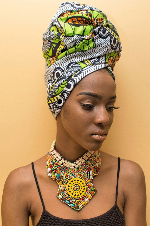 Black cami top with beaded pattern necklace and print head wrap. #head-wrap #necklace