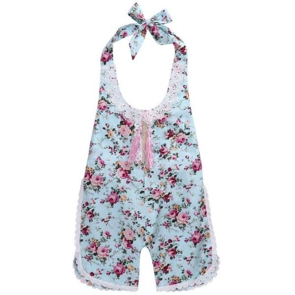2017 Newborn Baby Girl Rompers Summer Lace Floral Printed Halterneck Sleeveless One-piece