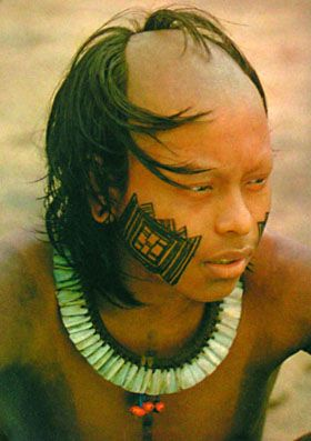 A Kayapo wearing the distinctive facial painting of his tribe