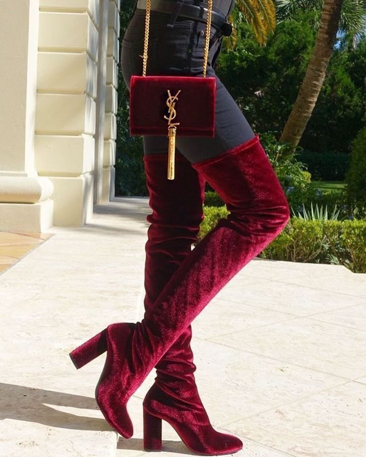 Zara Burgundy Velvet Over The Knee Boots - Beautiful Wardrobe