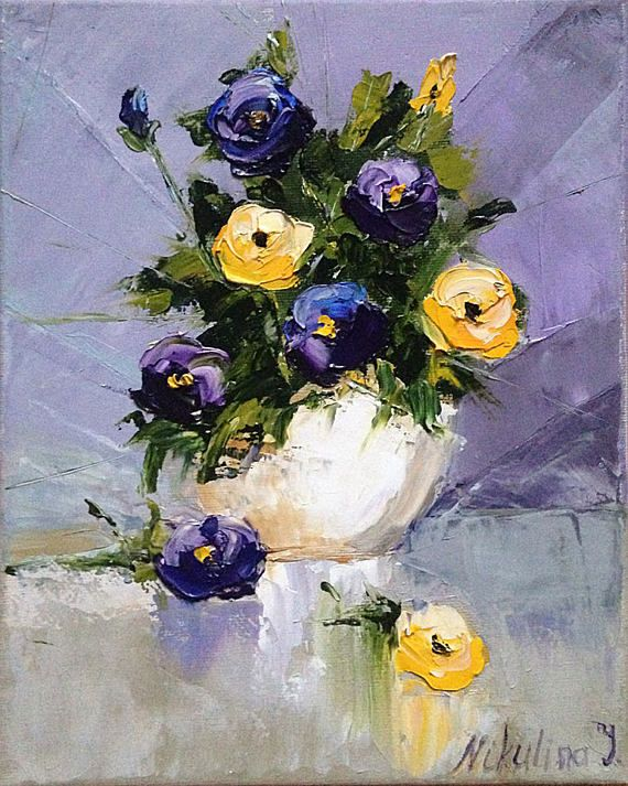 Purple violets oil painting PALETTE KNIFE Original floral