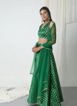 Festival wear green pakistani lehenga choli in brocade  https://www.gravity-fashion.com/festival-wear-green-pakistani-lehenga-choli-in-brocade-n17235.html