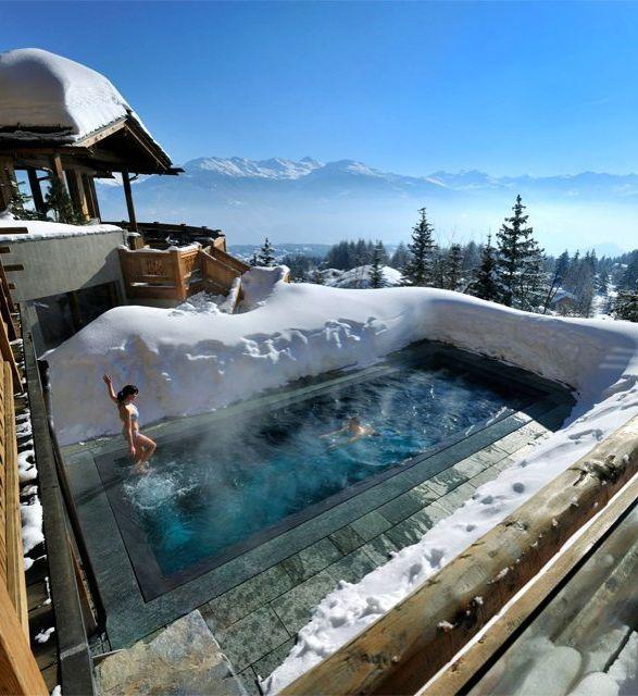Crans Montana Switzerland At Lecrans Hotel Spa Choose Between Indoor And Outdoor Pools Enjoy Balconies Overlooking Snow Covered Peaks Pines