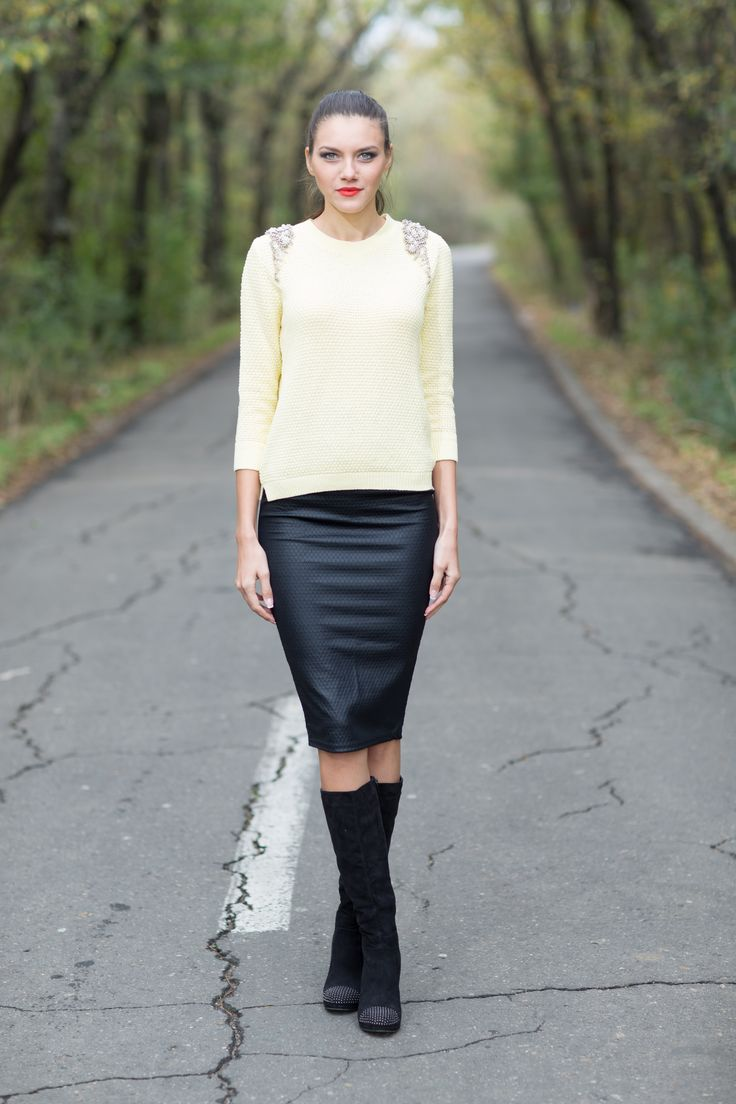 Pencil skirt - 69 RON http://www.raspberryfashion.ro/imbracaminte/fuste/pencil-skirt   Yellow Sweater with Shoulder applications - 99 RON http://www.raspberryfashion.ro/imbracaminte/yellow-sweater-with-shoulder-applications