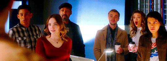 "Team Flash reacts to the Barry/Iris news. Lol, I love Caitlin. Julian's reaction to hearing engagement news is more me (""Ah. Cool! Yay you guys.""), but...I love Caitlin <3 (gif from denofgeek on tumblr) 