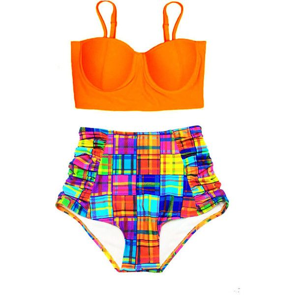 Flash Flashy High Waist Waisted Bikini Swimsuit, Orange Underwire Mid... ($40) ❤ liked on Polyvore featuring swimwear, bikinis, bathing suit, bikini, swimsuit, bikini swimsuit, high waist bikini swimsuit, 2 piece swimsuits, high-waisted bathing suits and two piece bathing suits