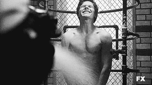 "Evan Peters flashed his co-stars during a shower scene. | Community Post: 40 ""American Horror Story"" Facts You Probably Didn't Know"