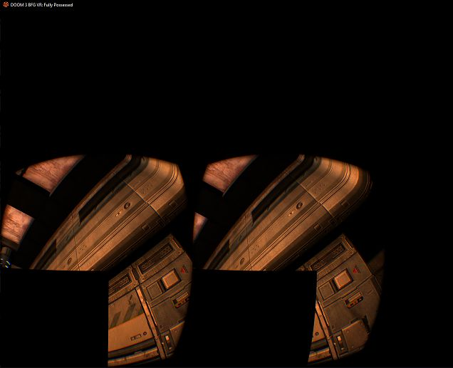 I installed the Doom 3 BFG FullyPossesed VR mod and i have this big black box covering half of my view can somebody help me? If i use the flashlight on it it fades away a little but still annoying otherwise the mod is absolutely great i just can't enjoy it this way:(