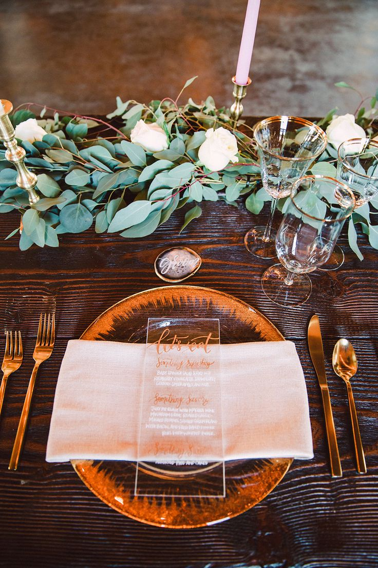 wedding place settings - photo by Jessica Elle Photography http://ruffledblog.com/romantic-wedding-under-the-oklahoma-sky