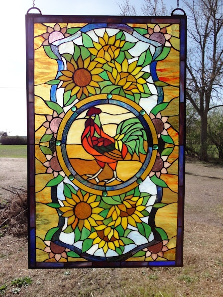 Rooster with sunflowers.  Really love this one. Would be great in my kitchen.