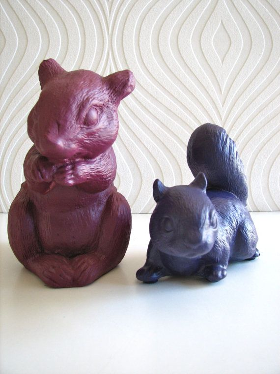 Perry the Squirrel Statue in deep plum or bright by mahzerandvee, $12.00