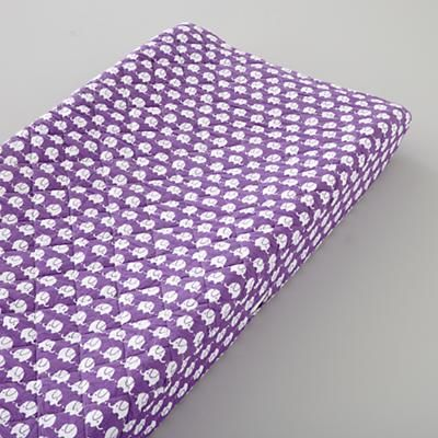 Changing Pad Covers: Purple Elephant Changer Cover in Changer Pad Cover