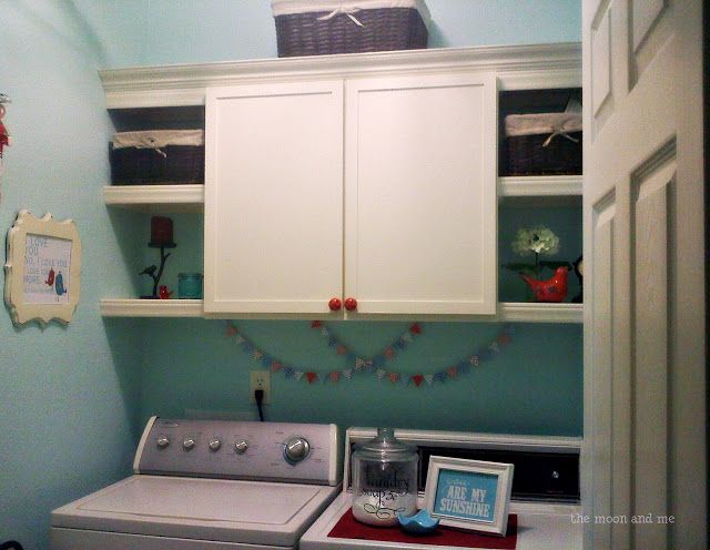 The Moon and Me: Loads of Laundry ~ A Makeover Story.  Recycled cabinet, spray painted washer dryer  add shelves & trim paint. Cute signs.