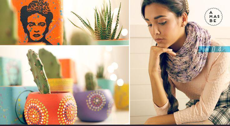 Catalogo AMASBE INVIERNO 2015 + macetas pintadas , cuello tejido a mano +