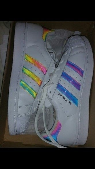 shoes adidas adidas shoes adidas superstars adidas originals adidas supercolor rainbow stripes white white shoes colorful stripes
