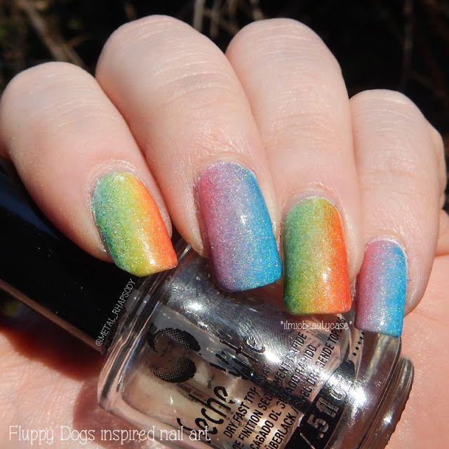 Fluppy dogs inspired gradient nail art