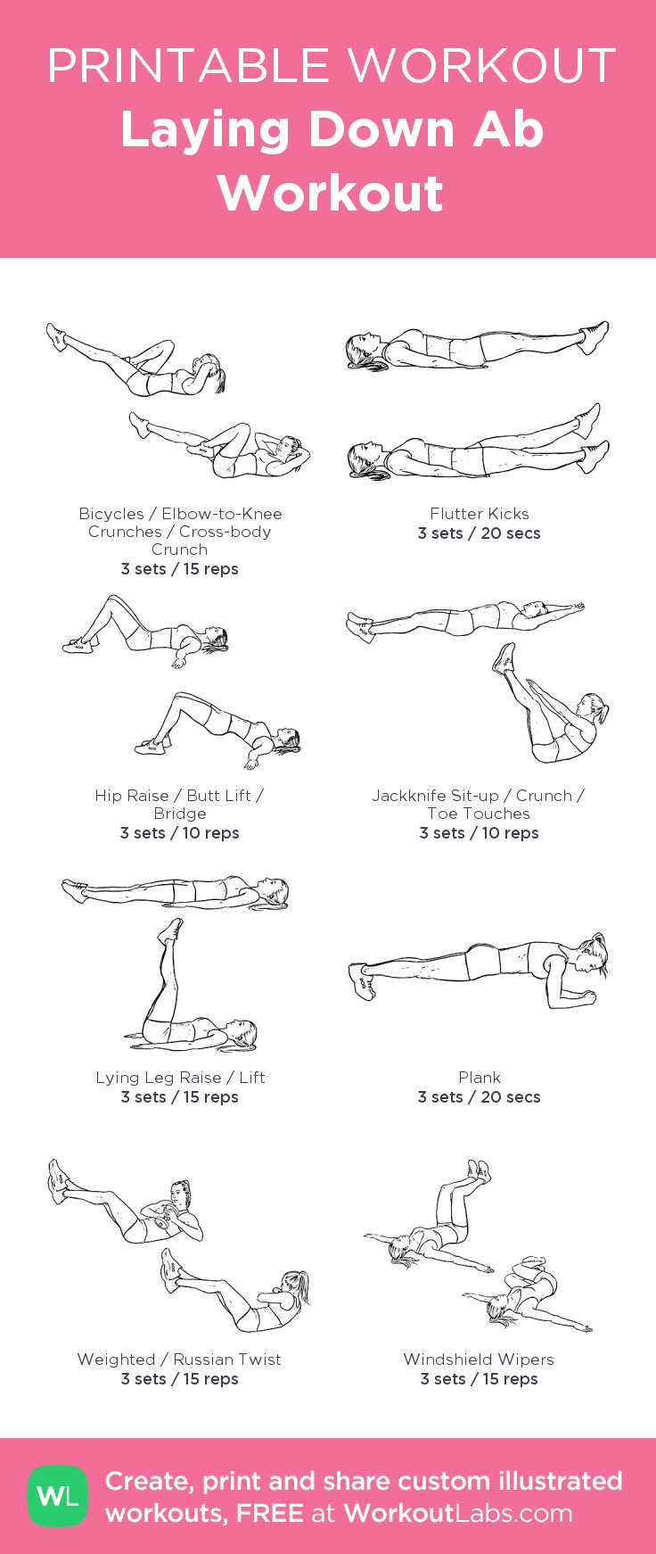 Laying Down Ab Workout. Easy, fast, and fun. #FITGirl #Health #FITness