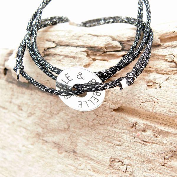 Bracelet collier personnalisé cible ronde à graver en argent 925 ou plaqué-or sur cordon lamé réglable avec fermoir aimants