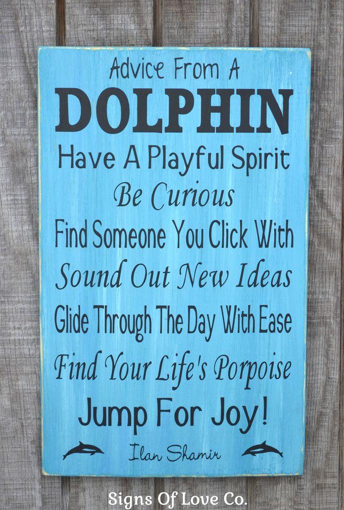 Advice From A Dolphin Sign Boys Girls Room Kids Children's Nautical Nursery Wall Art Beach Ocean Theme Surf Decor Wall Words Quote Sign No Vinyl