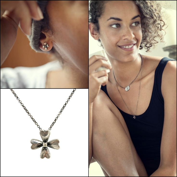 Never forget to smile! Otto Jewels four-leaf clover necklaces and earrings  #ottojewels #jewels #jewelry #necklaces #earrings
