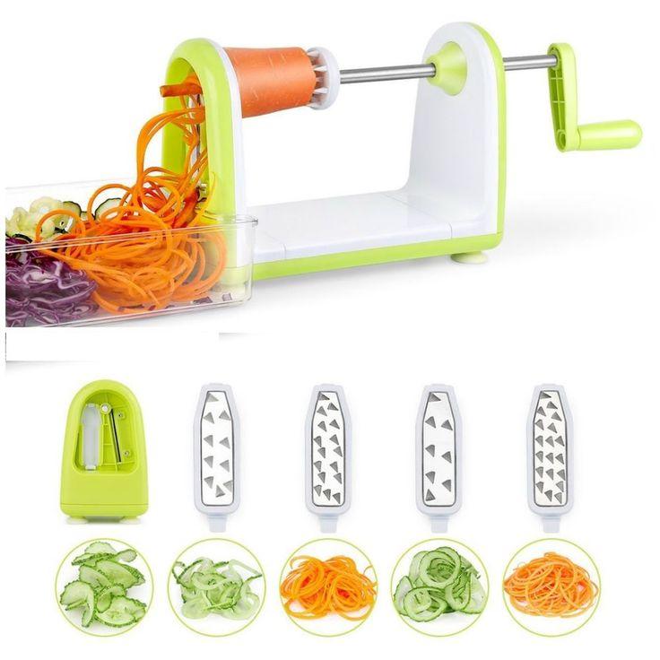 Vegetable Spiral Cutter Slicer 5 Blades Veggie Pasta Maker Spiralizer Collector  #VegetableSpiralizerSlicers