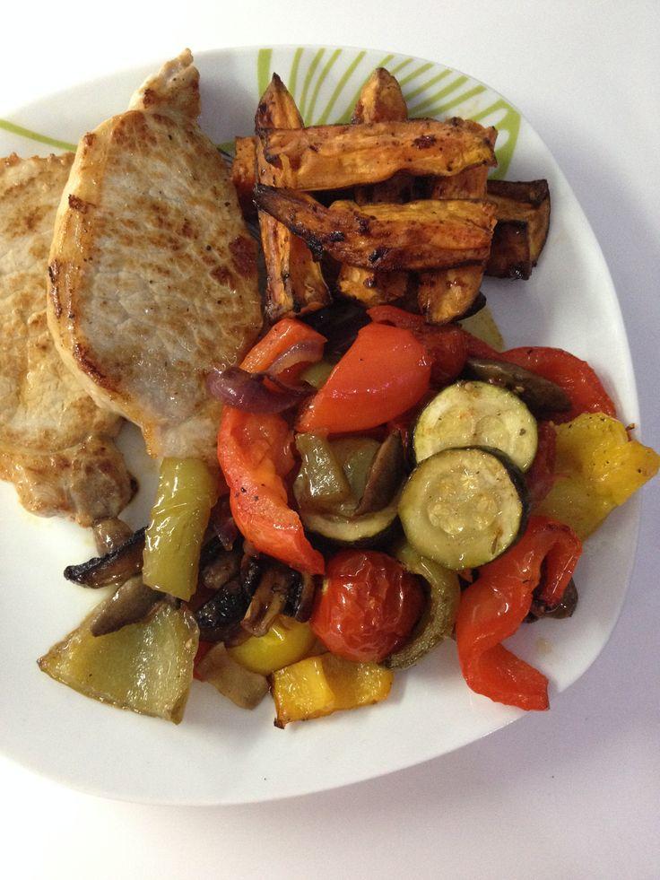 Lastnights tasty dinner   Roasted vegetables  Sweet potato wedges Pork chops  Blumming gorgeous