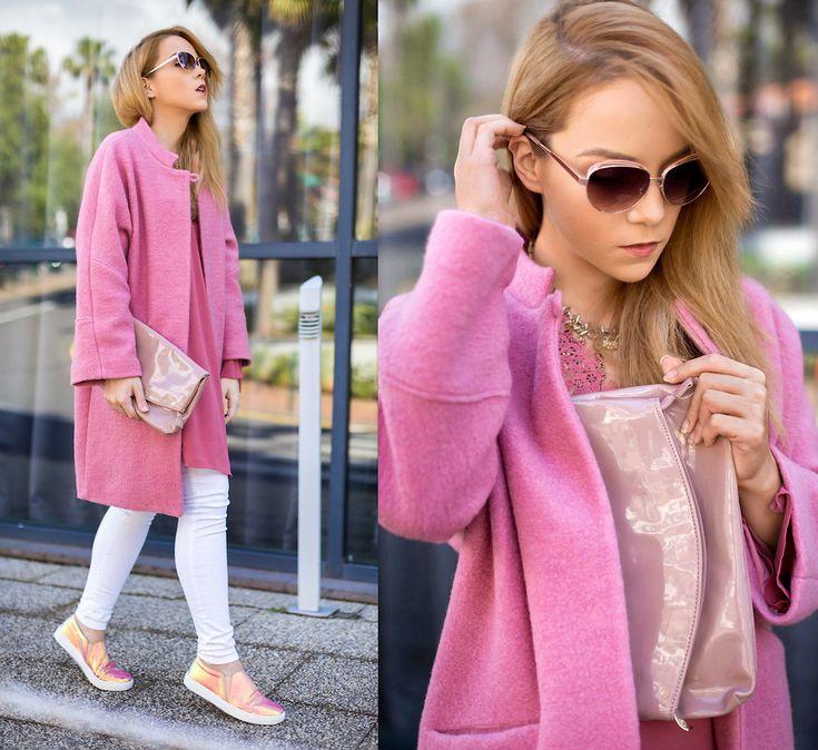 Silver Girl - Mango Pink Coat, Michael Kors Leather Clutch, Massimo Dutti White Jeans, Mango Snake Effect Sneakers, Zara Rose Shade Sunglasses, Mango Pink Lace Blouse - FLAMINGO
