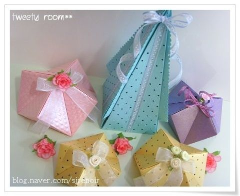 several pictures for cute origami boxes